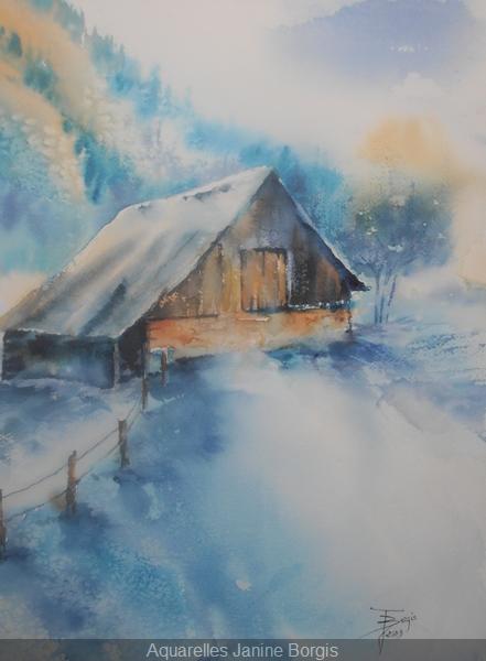 Châlet sous la neige